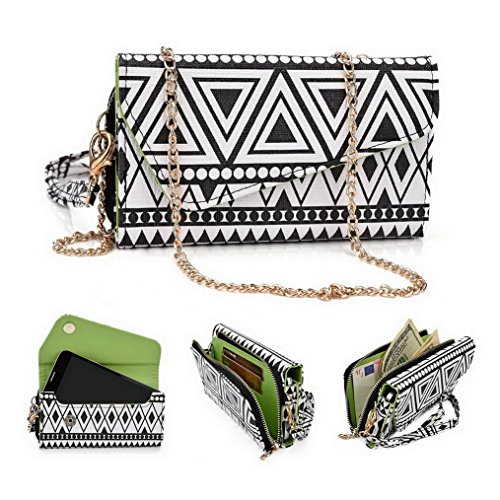 Kroo Pochette/étui style tribal urbain pour LG Spirit Multicolore - White and Orange Multicolore - Noir/blanc