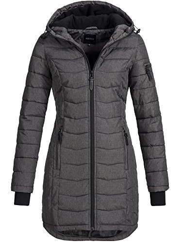 DESIRES Damen Bosse Winter Steppmantel Kapuze Übergangs Parka Wintermantel gefüttert 8288 Dark Grey Melange M