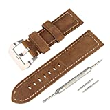 Beauty7 Correa para Reloj Kit x 5 Aguajas Cuero 24 mm Hebilla Plata Piel Genuina Unisexo Talla 12 * 7.5 * 0.45cm