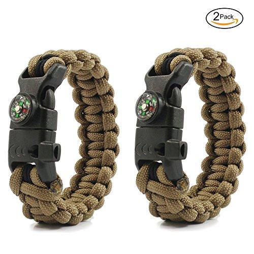 PSKOOK Paracord Survival Armband mit elastischen Schock Seil Kompass Whistle Feuer Starter Wildnis Taktische Notfall Ausrüstung Kit 2PCS (Khaki)