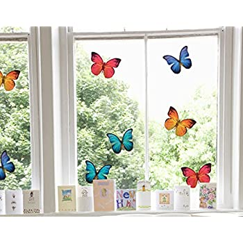Set of 8 large beautiful colourful butterflies static cling window stickers for your home