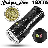 Happy Event ruipufire 18x XM-L T6LED Indicadores batería linterna para camping, senderismo, ciclismo, Not casos, Exterior, LED Display battery Flash Ligt