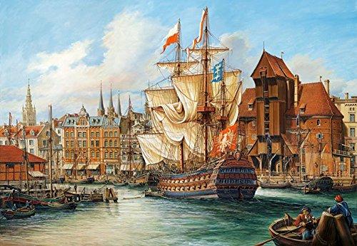 Preisvergleich Produktbild Puzzle 1000 Teile - Schiffe in Danzig - Polen - Hansestadt Schiff Mittelalter - historische Zeichnung Schlacht Seeschlacht