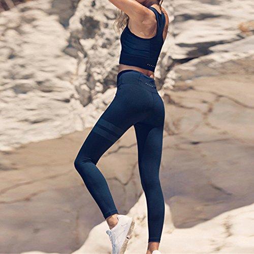 Donna Tuta Sportiva Impostato 2 pezzi Senza maniche raccolto Tops Fitness Formazione Collant Yoga Gli sport Palestra In esecuzione Jogging Activewear outfits S - L Kootk Nero