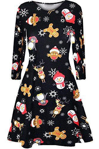 Womens Christmas Pattern Lose Fit Retro Round Neck Long Sleeve Midi Dress Vintage Cocktail Party Swing Dress (Disney Kleider Eingefroren)