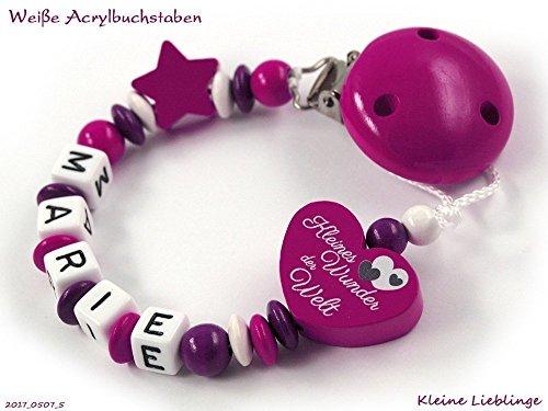 Schnullerkette mit Namen für Mädchen - max. 7 Buchstaben - Herz Kleines Wunder der Welt Stern - dunkelpink, beere, lila weiß tolles Geschenk zur Taufe Geburt fürs Baby - Holzbuchstaben (Wunder Lassen)