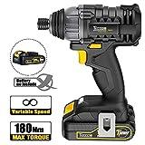Atornillador Impacto, TECCPO 180 Nm Atornillador 18V,...