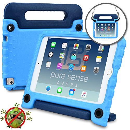 Apple iPad Mini 4 Hülle für Kinder, PURE SENSE BUDDY robust antibakteriell keimfrei Schultergurt strapazierfähig Kinder widerstandsfähig stoßsicher Spielzeug Schutz tragbar Schutzhülle + Griff, Standfunktion, Displayschutz (Blau)