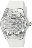 Technomarine–Reloj de cuarzo para mujer reloj con plateado esfera analógica y blanco correa de silicona tm-115209