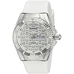 Technomarine Reloj de cuarzo para mujer con plata esfera analógica pantalla y correa de silicona, color blanco tm-115209