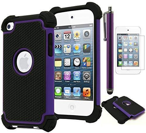 Bastex Hybrid Armor Hülle für Apple iPod Touch 4, 4. Generation-* * Inklusive Displayschutz und Stylus * *, Violett Ipod Touch 4 Hybrid