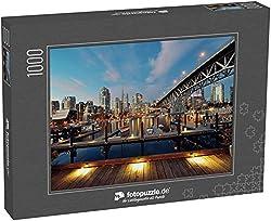 Puzzle 1000 Teile Vancouver False Creek bei Nacht mit Brücke und Boot - Klassische Puzzle, 1000/200/2000 Teile, in Edler Motiv-Schachtel, Fotopuzzle-Kollektion 'Kanada'