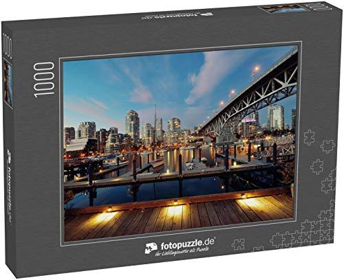 Puzzle 1000 Teile Vancouver False Creek bei Nacht mit Brücke und Boot - Klassische Puzzle, 1000/200/2000 Teile, in edler Motiv-Schachtel, Fotopuzzle-Kollektion \'Kanada\'