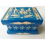 Nuova azzurro scatola bella mano di puzzle intagliato, scatola segreta, scatola magica, contenitore di monili, di stoccaggio mistero scrigno magico, designe fioriere intaglio