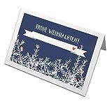 50 Tischkarten Frohe Weihnachten! im Vintage Design mit Zweigen & Beeren, Blau, Recyclingpapier Weihnachtstischkarten, Platzkarten zum beschriften für die Weihnachtsfeier, CO2 neutral