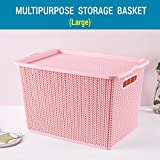 #7: TIED RIBBONS Premium Quality plastic Tapered hollow basket woven Storage box / organizer / bin / Basket With lid for Kitchen, Utility, Living room, kids room, Bedroom, Bathroom or office basket storage(33 cm X 20 cm X 22 cm)