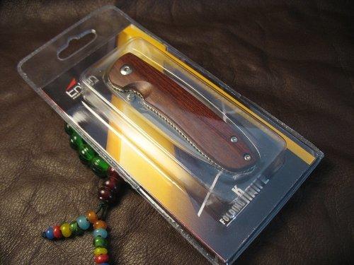 Enlan Messer Klein Holzgriff Taschenmesser Klappmesser Outdoor Messer Einhandmesser Folder Knife mit Gürtelclip (M028 Messer) (Liner-lock-messer Holz,)