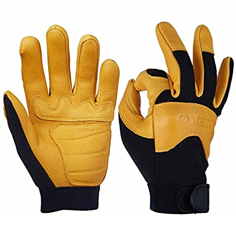 Deerskin Gloves, OZERO Grain Leather Motorcycle Glove for Work, Driving, Gardening, Hunting, Climbing - Extremely Soft and Snug Fit - Superior Grip Reinforced Palm Padding - (Gold, Large)