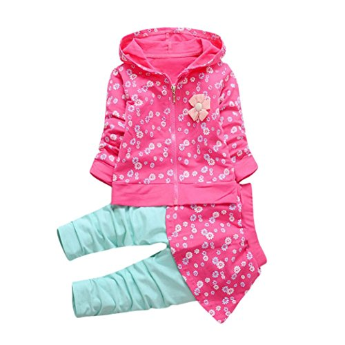 Longra Kleinkind Kinder Baby Mädchen Kleidung Blumen Kapuzenmantel Tops + Hosen Rock Kleider Set Herbst-Winterjacke Baby Sweatjacke Sweatshirt mit kapuze (0-36Monate) (90CM 18Monate, Hot Pink) (Blumen-mädchen-jacke)