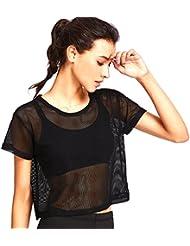 MagiDeal Camisa de Malla Recortada con Cuello Redondo Manga Corta Ropa de Mujer Chica