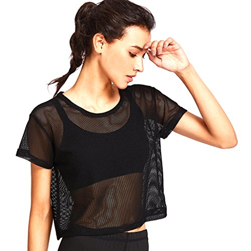 MagiDeal Petit Haut Maille Débardeur Gymnastique T-Shirt Yoga Réspirable Tee Couverture Femme - Noir, L
