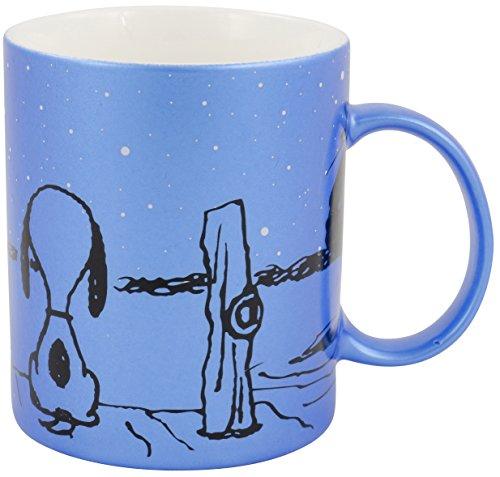 Peanuts 0122156 Kaffeetasse Snoopy und Schröder, Circa 200 ml, metallic/Porzellan, blau