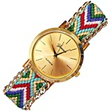 New Geneva Gold Dial Wool Knitted Alloy Chain Women Ladies Bracelet Watch Jewelry #1