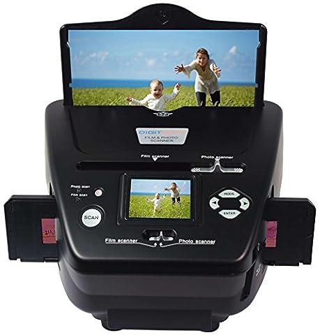 DigitNow! Combo Dia Scanner Film-Scanner Foto-Scanner (5 Megapixel CMOS-Sensor für Negative, 6cm TFT Monitor, SD-USB Anschluss, Computer-unabhängige Scan-Lösung) schwarz