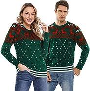 Aibrou Suéter de Navidad Familia Pullover de Punto Jerséis para Mujer Hombre Invierno Manga Larga Jersey Navid