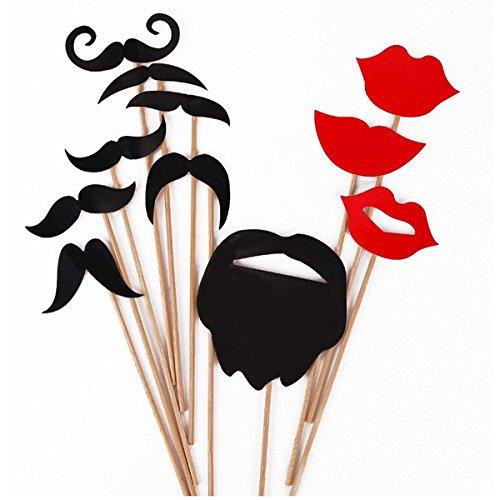 comprare on line Pixnor 31PCS puntelli colorati su un bastone baffi Photo Booth partito divertimento matrimonio natale compleanno bomboniera prezzo