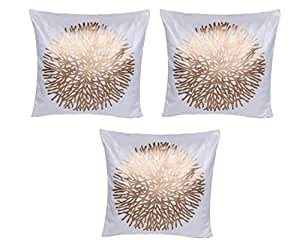Indiweaves Silk Golden Print White Cushion Covers 16X16 Inches (Pack of 3)