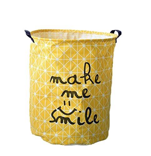 fablcrew Wäschekorb behindern Organizer Stoff Rund Wäschekorb Dirty Kleidet Lagerplatz, Baumwolle und Bettzeug, gelb, 40*50 cm (Schmutzige Wäsche Behindern)