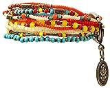 Konplott Armband Petit Glamour d´Afrique aus Metall mit Glassteinen Armkettchen für Damen Bunte Farbkombination Stretchband Boho Ethno Look warme Farbtöne Orange Gelb Rot