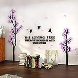 JWQT Wandtattoos Kreative baum stereoskopische acryl wandaufkleber wohnzimmer sofa TV hintergrund wand innenraum warme dekoration, Schwarzlicht lila, groß