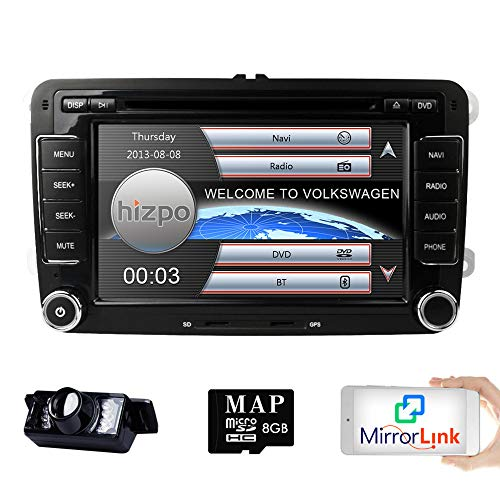 HIZPO 2 Din Autoradio Naviceiver für Jetta Golf Passat mit 7 Zoll Touch Screen GPS Navigation Bluetooth Freisprechfunktion CanBus DVD CD Player - Touchscreen Autoradio Dvd Mit