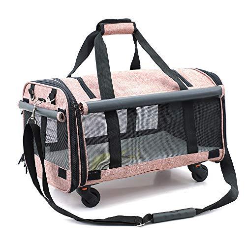 EXCLVEA-P Kleine Tiere Tasche Transportbox mit Rädern Katze Hund Welpen Reise Wandern Camping Faltbarer Transportbox Rucksack mit Wilden Schultergurten Design Hundetragerucksack (Tier-rucksack Mit Rädern)