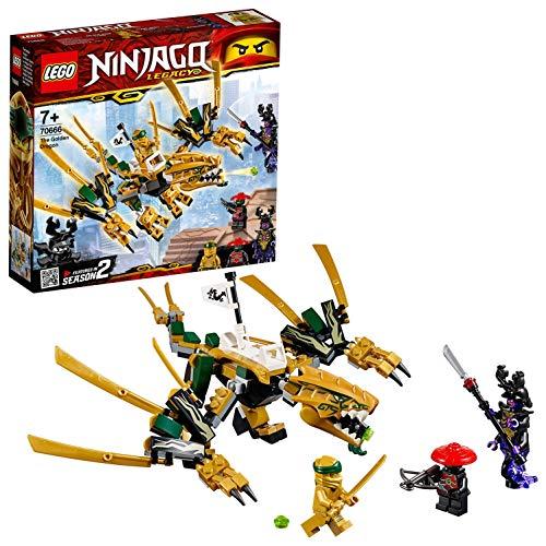 Lego Ninjago 70666 - D'Oro Drago - Il LEGO NINJAGO Legacy Action Toy contiene 3 minifigure: Golden Ninja Lloyd, Overlord e Scout of the Stone Army. - L'equipaggiamento include il Katana oro dal Golden Ninja Lloyd, le lame sbirciano dalla Overlord e l...