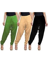 Eazy Trendz Women's Viscose Lycra Solid Patiala Pack Of 3-SKIN_BLACK_GREEN