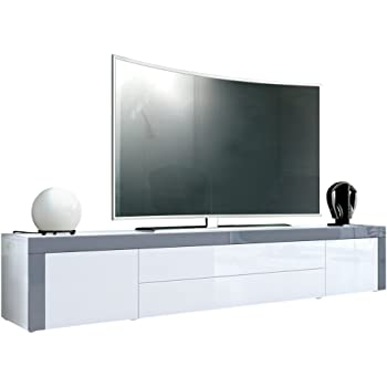 Vladon TV Stand Unit La Paz, Carcass in White High Gloss/Front in ...
