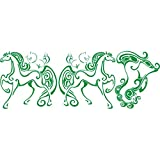 3028__DGRE Autoaufkleber Set Fairy Pferde ( Dark Green)