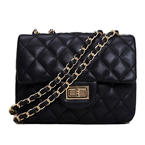 Black Leather Women's Shoulder Bag Quilted Handbag Shoulder Bags Chains Bag with Quilted Pattern and Chain Handle For Women Ladies Girls - Patent-make-up-tasche