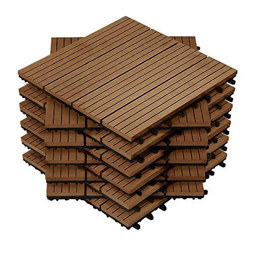 HENGMEI 22x Terrassenfliesen für 2m² WPC 30x30cm Holz-Optik - Balkonfliesen Garten klick-Fliese Braun mit Drainage (22er set,Braun)