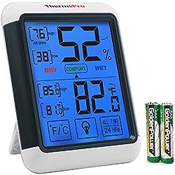 ThermoPro TP55 Thermomètre Hygromètre Numérique Jauges de Température Détecteur de Température Humidité, Grand Écran LCD Tactile, Rétroéclairage Bleu