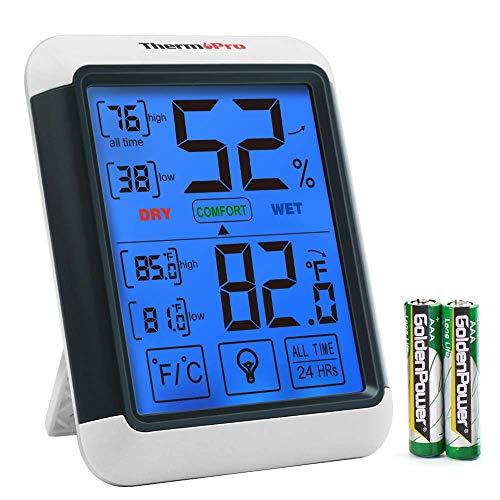 ThermoPro TP55 digitales Thermo-Hygrometer Innen Thermometer Hygrometer Temperatur und Luftfeuchtigkeitmessgerät mit Raumklima-Indikator für Raumklimakontrolle Raumluftüerwachtung -