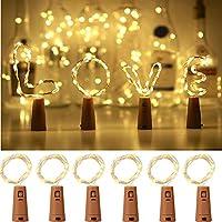 Bottle Lights, Yizhet Bottle Light with Cork 6 Pack Wine Bottle LED Light String 2M 20 LEDs Fairy Lights for Party, Christmas, Halloween, Wedding,Bedroom, Home Table Decoration (Warm White)