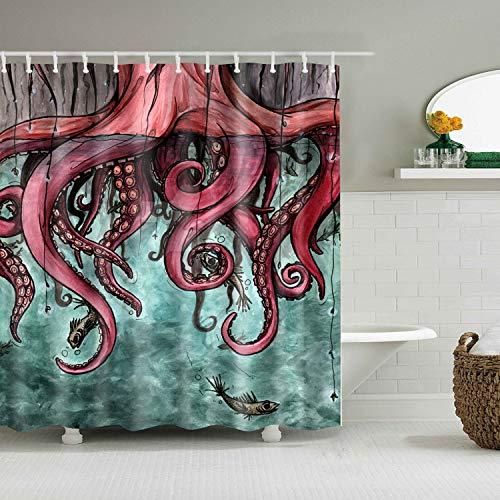 ZHANGSHUQI Aquarell auf blauem Hintergrund Red Octopus Tentacles Bad Duschvorhang dauerhaften Stoff Mehltau Badzubehör kreativ mit 12 Haken 180X180CM -