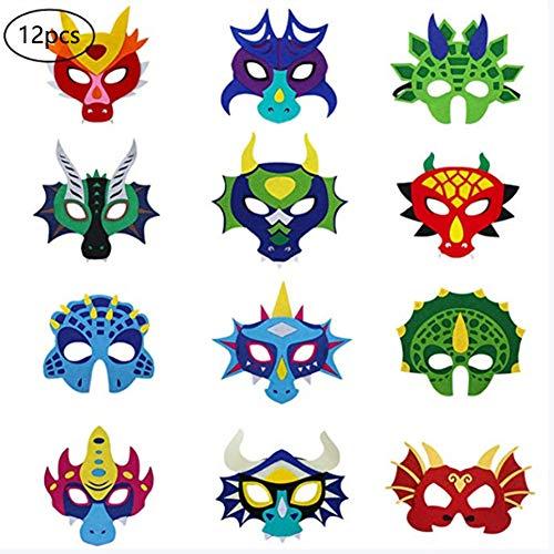 Dyda6 12 Stück Horrorfilz-Maske mit elastischem Seil für Kleinkinder, für Cosplay, Kostüm, Party, Geburtstag, Festival, Maskerade, Schule, Aktivität