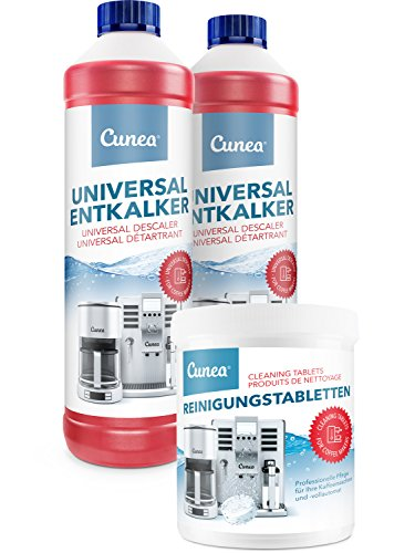 Cunea 2x 750ml Entkalker und 350x Reinigungstabletten für Kaffeevollautomaten Kaffeemaschine...