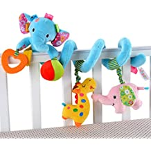 Happy Cherry 0 - 3 Anni Bebè Educativa Decorazione Musicali Giocattolo Attività a Spirale da Passeggino o Lettino - Blu Elefante