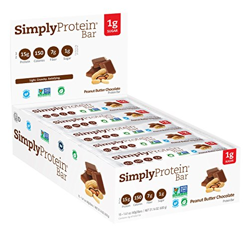 Simply Protein Bar, Peanut Butter Chocolate, GF and Vegan, 1.4 Ounce (Pack of 15)